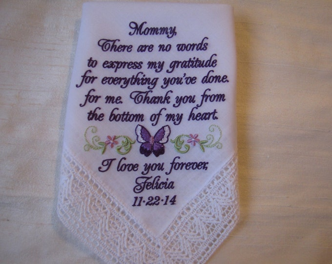 Mother of the Bride Wedding Handkerchief Custom Embroidered