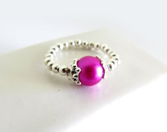 Magenta Glass Pearl Silver Stretch Ring