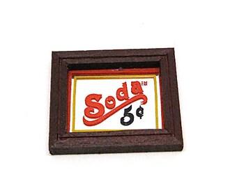 Dollhouse, Soda Fountain Sign, Soda Shop, Diner, Mirror Sign, Framed, Diner Decor, Soda Shop Decor, Miniature, Hobby, Old Stock, 1:12 Scale