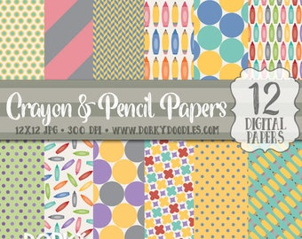 Back to School Papers, Cute Pencil and Crayon Digital Scrapbook Paper - School Paper Project Supplies