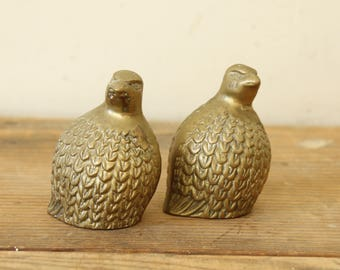 Vintage Bird Figurines Brass Quails Set of Two Decorating Prop Display Partridge