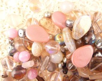 Pink Czech Glass Beads, Assortment, Mix (80+ beads - 60grams) - BM