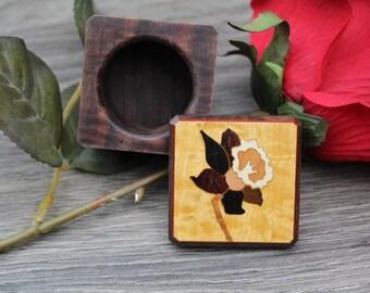 Flower Ring Box, Rustic Ring box, Ring Bearer Box, Jewelry Box, wedding Ring Box, Pill Box, Jewelry Box, His & Hers Wedding Ring Box