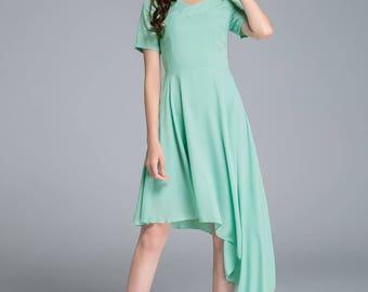 green chiffon dress, high low dress, beach dress, flare dress, womens dresses, swing dress, party dress, evening dress, handmade1769