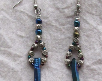 Iridescent Crystal Spike Earrings