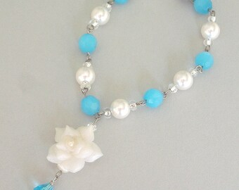 Turquoise pearl bracelet, turquoise and white with white rose, blue bridal - Ultimate in Elegance collection