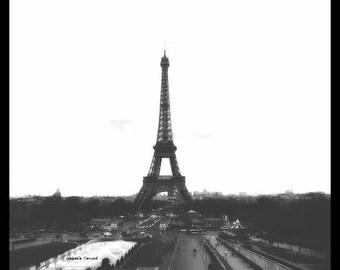 Black and white Paris photography Tour Eiffel Paris l'oubli 8 x 8 inches