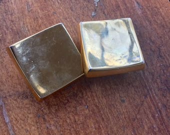 Square Gold Clip-On Earrings