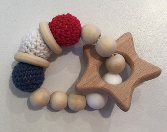 Patriotic Star Crochet/Wooden/Silicone Teether