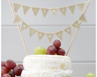 Just Married Cake Bunting - Rustic Wedding | Country Wedding | Barn Wedding | Alternative Cake Decor | Boho Wedding | Cake Topper | Rustic