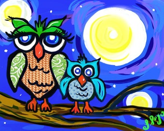 Owls, Digital Download, original, mixed media, moonlight, kids artwork, children artwork, art decor, bright, colorful, night, abstract