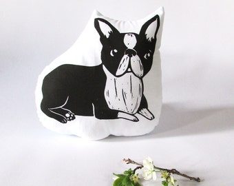 Plush Boston Terrier Shaped Animal Pillow. Dog Plushie. Hand Woodblock Printed. Choose Any Color. Made to Order.