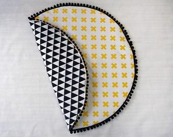 Monochrome baby play mat / round roundie black triangles yellow crosses baby mat / teepee mat / monochrome nursery / baby rug / nusery room