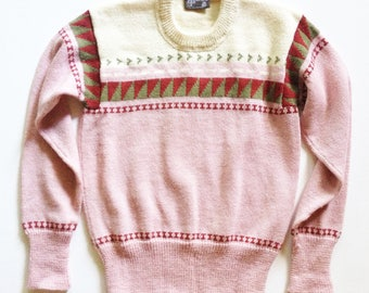 1970s Hand Knit Pink and Cream Wool Crewneck