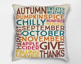 Fall Pillow, Fall Decor, Autumn Decor, Autumn Pillow, Fall Subway Pillow, Halloween Pillow, Fall Farmhouse Pillow, Fall Farmhouse Decor
