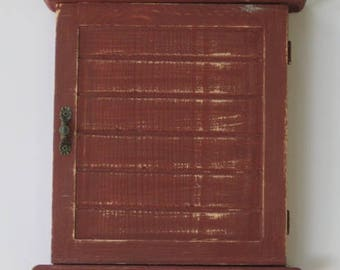 WOODEN KEY BOX With Pigeons   Key Cabinet   Wall Hanging Keys Hanger    Bordeaux Shabby