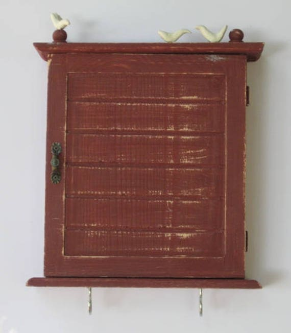 WOODEN KEY BOX With Pigeons Key Cabinet Wall Hanging Keys