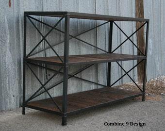 Vintage Industrial Shelving Unit. Mid Century Modern Bookcase.  Rustic Closet Shelf. Urban Shoe Rack. Steel and Reclaimed Wood Loft Decor.