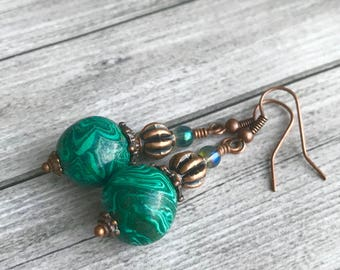 Green malachite copper earrings  - Tribal Gypsy earrings - Bohemian boho Earrings - white green dangles earrings - Unique Gift