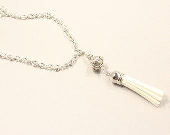White Necklace, Long Tassel Necklace, Silver Tassel Necklace, Silver Chain Necklace, White Summer Necklace,  Long Necklace, Gift for Friend