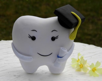 Tooth graduation gift, Dentist graduation gift, Tooth graduation cap, Dental Graduation Gift, Tooth cake topper, Dental graduation party