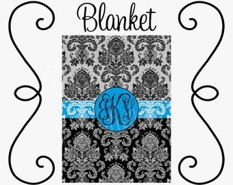 Personalized Blanket, Monogram Blanket, Double-Sided, Velveteen, 30x40, 50x60, 60x80 - - Black/Turquoise Damask