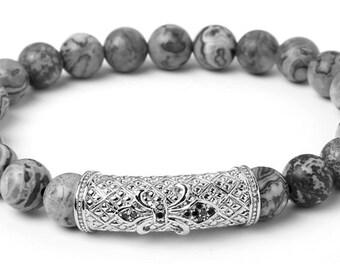 Silver plated bracelet for men / Statement bracelet for men / Luxury bracelet / Men's jewelry / Men's beaded bracelet / Gray jasper bracelet