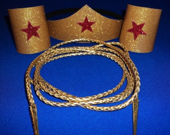 Classic Wonder Woman Costume Accessories Set  Tiara headband, Cuffs,  and Golden Lasso