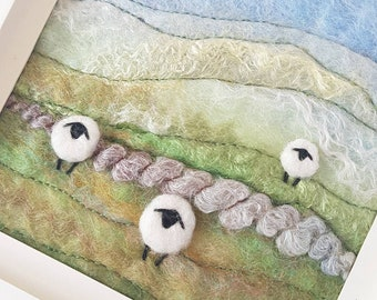 Sheep in a summer landscape - original felted fiber art picture by Textile Artist Maxine Smith