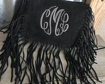 Crossbody Bag/Suede Shoulder Crossbody Bag with Fringe and Three Initial Monogram