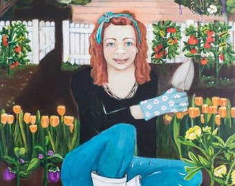 This is mama. Red haired woman in garden. An original Painting.