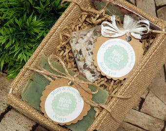 Soap and bath tea gift set, Mother's day gift, gift for mum, soap gift, spa gift, beauty products, jute box, you choose the scents