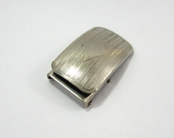 Mens Machine Engraved Steel Belt Buckle for Skinny Belt - 1920s-30s