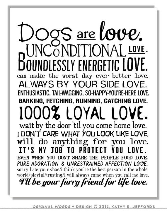 I Love My Dog Quotes Best Dog Art Print Dogs Are Love Poem Dogs Wall Art I Love My Dog