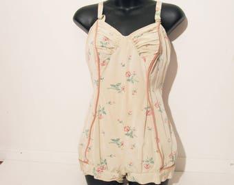 Vtg 50s ICONIC JANTZEN Floral Swimsuit! Large