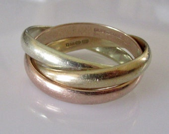 Large 9ct Gold Tri- Colour Russian Wedding Ring 10 grams