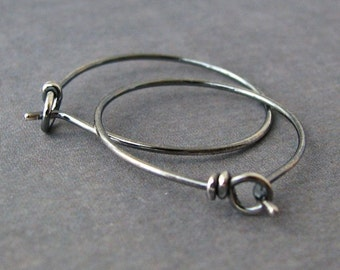 Handmade Earrings, Antiqued Sleeper Hoops, Sterling Silver