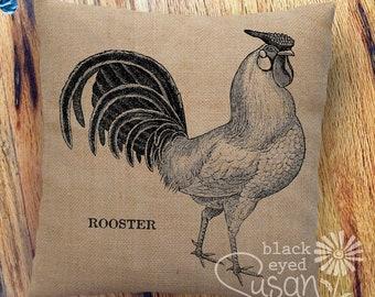 "Farmhouse ""Rooster"" Pillow Cover | 100% Cotton Canvas | 14""x14"" 18""x18"" 22""x22"" | Farm Animals"