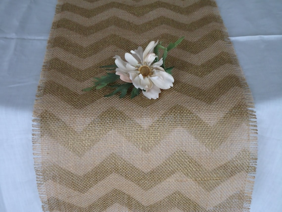 items similar to elegant burlap chevron table runner gold painted rustic table decor by. Black Bedroom Furniture Sets. Home Design Ideas