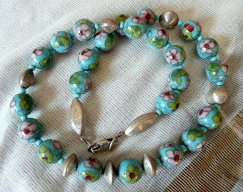 Silver and Cloisonne beeds Necklace
