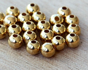 Gold Plated Round Seamed Beads, 4mm - 75 pcs - eSR03GP-4