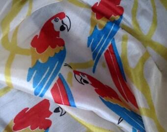 Vintage- Seidentuch-Papageien-Zoo-Damentuch- 80 x 80 cm- Vintage tuch aus den 70-er Jahren-Omas Tuch