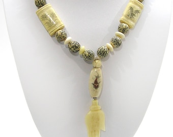 Handmade Bone Bead Necklace with Carved Bone Hand Pendant Asian Bone Beads with Koi, Insects and Flowers
