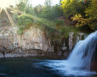 Photograph of a Waterfall on Fossil Creek, Arizona, printed on metal and ready to hang