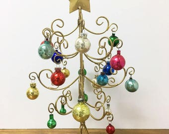 Mini Gold Christmas Tree / Miniature Metal Tree / Small Gold Tree / Complete Tree / Tabletop Tree / With Ornaments