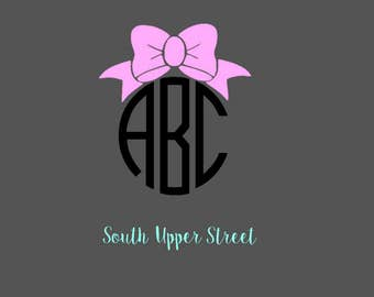 Bow Monogram Decal #2 | Monogram Decal | Yeti Cup Decal | Bow Decal | Bow Sticker | Vine Monogram Decal | Laptop Decal