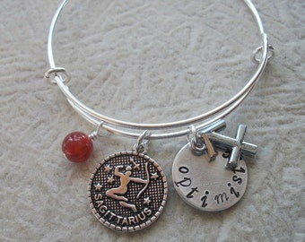 Sagittarius Adjustable Bangle - Zodiac Jewelry - What's Your Sign - Fire Element - Horoscope Bracelet
