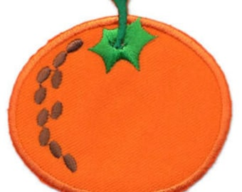 Embroidered Iron-On Applique Orange, 2+5/8 x 2+1/2 inch