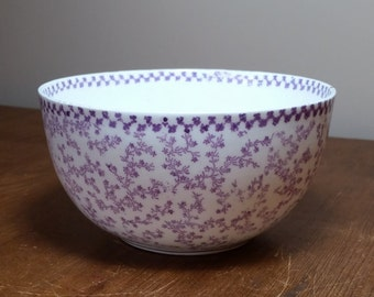 Fruit or Sugar Bowl, Sutherland China, Purple Floral Chintz with Gold Trim