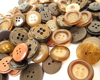Lot 100 Vintage Buttons Brown Buttons Bulk Mixed Buttons Large 10 mm 20 mm Round Ornate Assorted Buttons 2 Holes 4 Holes Sewing Craft Supply